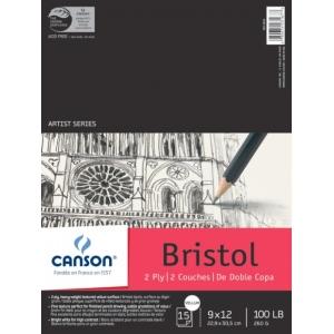 "Canson® Artist Series Artist Series 2-Ply Vellum Bristol 9"" x 12"": Fold Over, White/Ivory, Pad, 15 Sheets, 9"" x 12"", Vellum, (model C100510859), price per 15 Sheets pad"