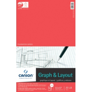 "Canson® Foundation Series 11"" x 17"" Graph and Layout Sheet Pad; Binding: Fold Over; Color: White/Ivory; Format: Pad; Quantity: 40 Sheets; Size: 11"" x 17""; Texture: Lightweight; (model C100510874), price per 40 Sheets pad"