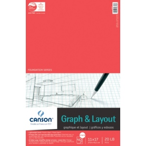 "Canson® Foundation Series 11"" x 17"" Graph and Layout Sheet Pad; Binding: Fold Over; Color: White/Ivory; Format: Pad; Quantity: 40 Sheets; Size: 11"" x 17""; Texture: Lightweight; (model C100510885), price per 40 Sheets pad"