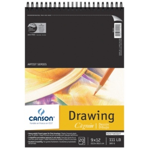 "Canson® C A Grain® Artist Series 9"" x 12"" Drawing Sheet Pad; Binding: Wire Bound; Color: White/Ivory; Format: Pad; Quantity: 20 Sheets; Size: 9"" x 12""; Texture: Fine, Medium; (model C100510886), price per 20 Sheets pad"