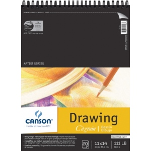 "Canson® C R Grain® Artist Series 11"" x 14"" Drawing Sheet Pad: Wire Bound, White/Ivory, Pad, 20 Sheets, 11"" x 14"", Fine, Medium, (model C100510887), price per 20 Sheets pad"