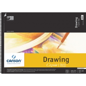 """Canson® C A Grain® Artist Series 18"""" x 24"""" Drawing Sheet Pad; Binding: Wire Bound; Color: White/Ivory; Format: Pad; Quantity: 20 Sheets; Size: 18"""" x 24""""; Texture: Fine, Medium; (model C100510889), price per 20 Sheets pad"""