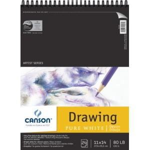 "Canson® Artist Series 11"" x 14"" Drawing Sheet Pad; Binding: Wire Bound; Color: White/Ivory; Format: Pad; Quantity: 24 Sheets; Size: 11"" x 14""; Texture: Fine; (model C100510891), price per 24 Sheets pad"