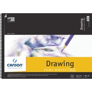 """Canson® Artist Series 18"""" x 24"""" Drawing Sheet Pad: Wire Bound, White/Ivory, Pad, 24 Sheets, 18"""" x 24"""", Fine, (model C100510893), price per 24 Sheets pad"""