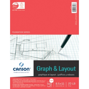 "Canson® Foundation Series 8..5"" x 11"" Graph and Layout Sheet Pad; Binding: Fold Over; Color: White/Ivory; Format: Pad; Quantity: 40 Sheets; Size: 8 1/2"" x 11""; Texture: Lightweight; (model C100510894), price per 40 Sheets pad"