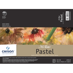 "Canson® Mi-Teintes® Artist Series 12"" x 16"" Fold Over Bound Pad Earth Tone: Fold Over, Multi, Pad, 24 Sheets, 12"" x 16"", Heavy, Light, (model C100510898), price per 24 Sheets pad"