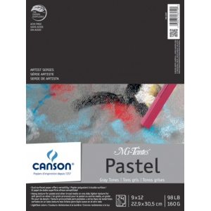 """Canson® Mi-Teintes® Artist Series 9"""" x 12"""" Fold Over Bound Pad Assorted Gray: Fold Over, Black/Gray, Multi, Pad, 24 Sheets, 9"""" x 12"""", Heavy, Light, (model C100510899), price per 24 Sheets pad"""