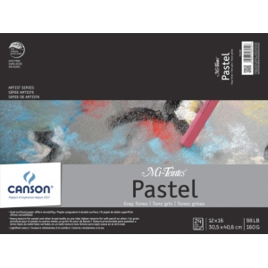 "Canson® Mi-Teintes® Artist Series 12"" x 16"" Fold Over Bound Pad Assorted Gray; Binding: Fold Over; Color: Black/Gray, Multi; Format: Pad; Quantity: 24 Sheets; Size: 12"" x 16""; Texture: Heavy, Light; (model C100510900), price per 24 Sheets pad"