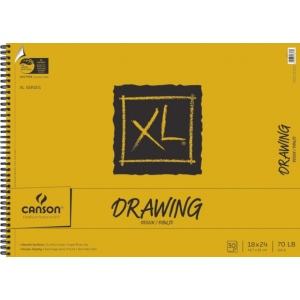 "Canson® XL® 18"" x 24"" Drawing Pad (Side Wire); Binding: Wire Bound; Color: White/Ivory; Format: Pad; Quantity: 30 Sheets; Size: 18"" x 24""; Texture: Smooth; (model C100510917), price per 30 Sheets pad"