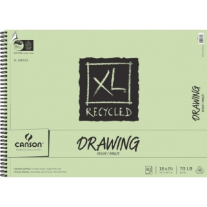 "Canson® XL® 18"" x 24"" Recycled Drawing Pad (Side Wire): Wire Bound, White/Ivory, Pad, 30 Sheets, 18"" x 24"", Smooth, (model C100510918), price per 30 Sheets pad"
