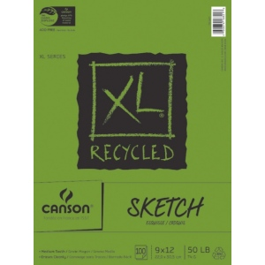 "Canson® XL® 9"" x 12"" Recycled Sketch Pad (Fold Over); Binding: Fold Over; Color: White/Ivory; Format: Pad; Quantity: 100 Sheets; Size: 9"" x 12""; Texture: Medium; (model C100510921), price per 100 Sheets pad"