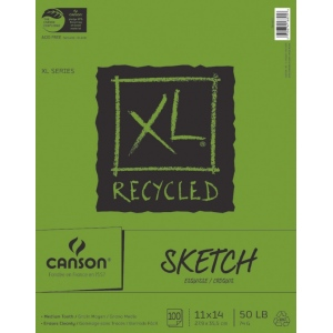 "Canson® XL® 11"" x 14"" Recycled Sketch Pad (Fold Over); Binding: Fold Over; Color: White/Ivory; Format: Pad; Quantity: 100 Sheets; Size: 11"" x 14""; Texture: Medium; (model C100510923), price per 100 Sheets pad"