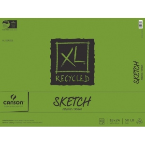 "Canson® XL® 18"" x 24"" Recycled Sketch 100-Sheet Pad (Fold Over); Binding: Fold Over; Color: White/Ivory; Format: Pad; Quantity: 100 Sheets; Size: 18"" x 24""; Texture: Medium; (model C100510925), price per 100 Sheets pad"