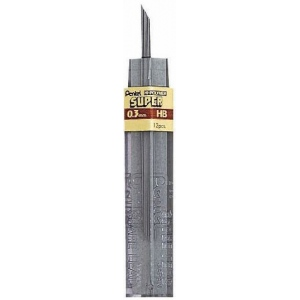 Pentel® Super Hi-Polymer® Super Lead .3mm 2H; Degree: 2H; Type: Lead; (model 300-3-2H/BX), price per box