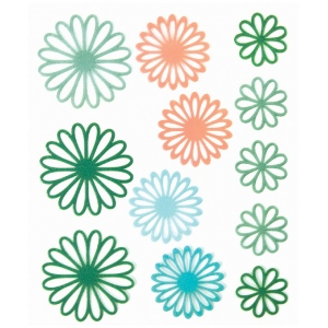 "Blue Hills Studio™ ColorStories™ Gel Outline Daisy Stickers Green; Color: Green; Material: Gel; Size: 4 3/4"" x 5 3/4""; Type: Dimensional; (model BHS10308), price per each"