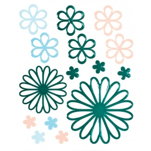 "Blue Hills Studio™ ColorStories™ Glossy Embossed Daisy Stickers Green; Color: Green; Material: Gel; Size: 4 3/4"" x 5 3/4""; Type: Dimensional; (model BHS10311), price per each"