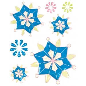 "Blue Hills Studio™ ColorStories™ Epoxy Snowflower Stickers Blue: Blue, Epoxy, 4 3/4"" x 5 3/4"", Dimensional, (model BHS10407), price per each"