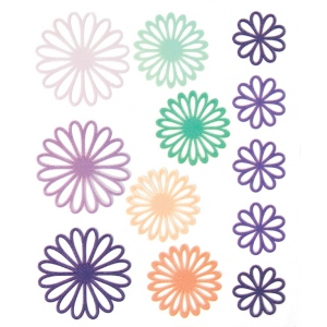 "Blue Hills Studio™ ColorStories™ Gel Outline Daisy Stickers Purple; Color: Purple; Material: Gel; Size: 4 3/4"" x 5 3/4""; Type: Dimensional; (model BHS10508), price per each"