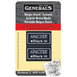 General's® Magic Black™ Soft Erasers 2-Pack: Rubber, 2-Box, Manual, (model GBS-18-2BP), price per 2-Box