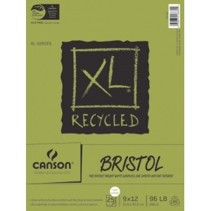"""Canson® XL® 9"""" x 12"""" Recycled Bristol Pad (Fold Over): Fold Over, White/Ivory, Pad, 25 Sheets, 9"""" x 12"""", Smooth, Vellum, (model C100510932), price per 25 Sheets pad"""