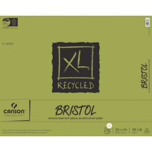 "Canson® XL® 19"" x 24"" Recycled Bristol Pad (Fold Over): Fold Over, White/Ivory, Pad, 25 Sheets, 19"" x 24"", Smooth, Vellum, (model C100510935), price per 25 Sheets pad"