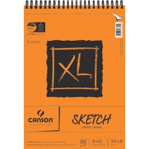 "Canson® XL® 9"" x 12"" Sketch Pad (Top Wire); Binding: Wire Bound; Color: White/Ivory; Format: Pad; Quantity: 100 Sheets; Size: 9"" x 12""; Texture: Medium; (model C100510939), price per 100 Sheets pad"