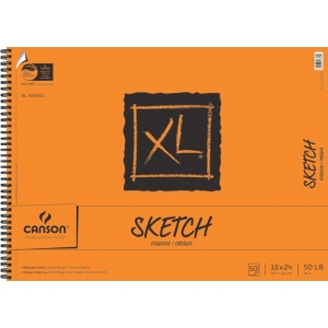 """Canson® XL® 18"""" x 24"""" Sketch Pad (Side Wire): Wire Bound, White/Ivory, Pad, 50 Sheets, 18"""" x 24"""", Medium, (model C100510940), price per 50 Sheets pad"""
