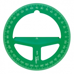 "Linex® 4"" Translucent Green Circular Protractor; Color: Green; Material: Plastic; Size: 4""; Type: Protractor; (model G210GRN), price per each"