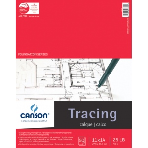 "Canson® Foundation Series 11"" x 14"" Tracing Paper Pad; Binding: Fold Over; Color: White/Ivory; Format: Pad; Quantity: 50 Sheets; Size: 11"" x 14""; Texture: Smooth; (model C100510961), price per 50 Sheets pad"