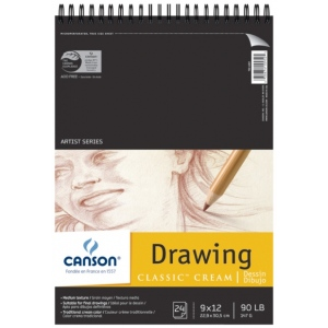 """Canson® Classic™ Artist Series 9"""" x 12"""" Drawing Pad (Top Wire): Wire Bound, White/Ivory, Pad, 24 Sheets, 9"""" x 12"""", Medium, (model C100510973), price per 24 Sheets pad"""