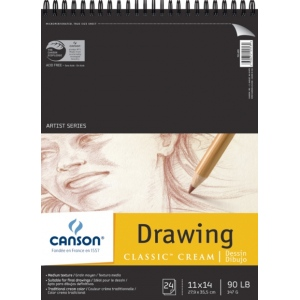 "Canson® Classic™ Artist Series 11"" x 14"" Drawing Pad (Top Wire); Binding: Wire Bound; Color: White/Ivory; Format: Pad; Quantity: 24 Sheets; Size: 11"" x 14""; Texture: Medium; (model C100510974), price per 24 Sheets pad"