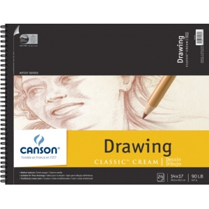 "Canson® Classic™ Artist Series 14"" x 17"" Drawing Pad (Top Wire); Binding: Wire Bound; Color: White/Ivory; Format: Pad; Quantity: 24 Sheets; Size: 14"" x 17""; Texture: Medium; (model C100510975), price per 24 Sheets pad"