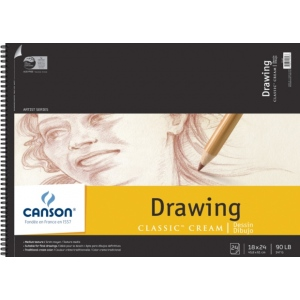 "Canson® Classic™ Artist Series 18"" x 24"" Drawing Pad (Top Wire); Binding: Wire Bound; Color: White/Ivory; Format: Pad; Quantity: 24 Sheets; Size: 18"" x 24""; Texture: Medium; (model C100510976), price per 24 Sheets pad"