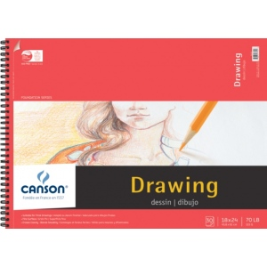 "Canson® Foundation Series 18"" x 24"" Foundation Drawing Pad; Binding: Wire Bound; Color: White/Ivory; Format: Pad; Quantity: 30 Sheets; Size: 18"" x 24""; Texture: Fine; (model C100510981), price per 30 Sheets pad"