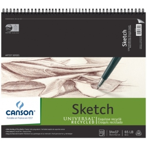 """Canson® Universal™ Artist Series 14"""" x 17"""" Recycled Sketch Sheet Pad: Wire Bound, White/Ivory, Pad, 100 Sheets, 14"""" x 17"""", Fine, (model C100511011), price per 100 Sheets pad"""