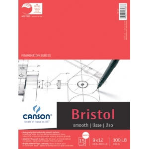 "Canson® Foundation Series 9"" x 12"" Foundation Bristol Sheet Pad; Binding: Fold Over; Color: White/Ivory; Format: Pad; Quantity: 15 Sheets; Size: 9"" x 12""; Texture: Smooth; (model C100511013), price per 15 Sheets pad"