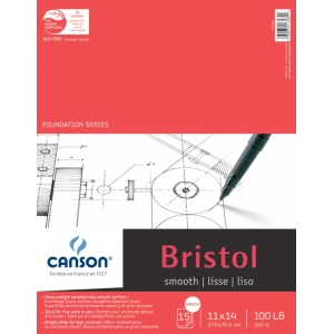 "Canson Foundation Series Smooth Bristol: Fold Over Bound Pads, 11"" x 14"", 15-Sheets"