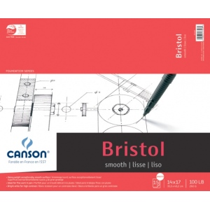 "Canson® Foundation Series 14"" x 17"" Foundation Bristol Sheet Pad; Binding: Fold Over; Color: White/Ivory; Format: Pad; Quantity: 15 Sheets; Size: 14"" x 17""; Texture: Smooth; (model C100511015), price per 15 Sheets pad"