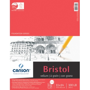 "Canson® Foundation Series 11"" x 14"" Foundation Bristol Sheet Pad; Binding: Fold Over; Color: White/Ivory; Format: Pad; Quantity: 15 Sheets; Size: 11"" x 14""; Texture: Vellum; (model C100511018), price per 15 Sheets pad"