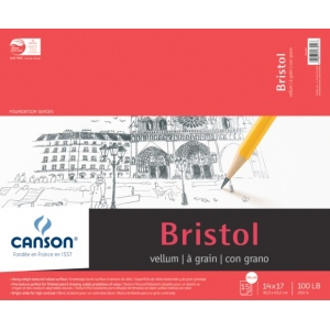 "Canson® Foundation Series Foundation Series Vellum Bristol 14"" x 17""; Binding: Fold Over; Format: Pad; Quantity: 15 Sheets; Size: 14"" x 17""; Type: Bristol; Weight: 100 lb; (model C100511019), price per 15 Sheets pad"