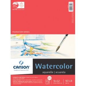 """Canson® Foundation Series 9"""" x 12"""" Watercolor Cold Press 15-Sheet Pad; Binding: Fold Over; Color: White/Ivory; Format: Pad; Quantity: 15 Sheets; Size: 9"""" x 12""""; Texture: Cold Press; (model C100511022), price per 15 Sheets pad"""