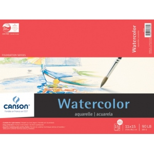 "Canson® Foundation Series 11"" x 15"" Watercolor Cold Press 15-Sheet Pad; Binding: Fold Over; Color: White/Ivory; Format: Pad; Quantity: 15 Sheets; Size: 11"" x 15""; Texture: Cold Press; (model C100511023), price per 15 Sheets pad"