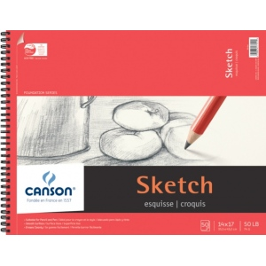 "Canson Foundation Series Sketch Paper: Wirebound Pads, 14"" x 17"", 50-Sheet"