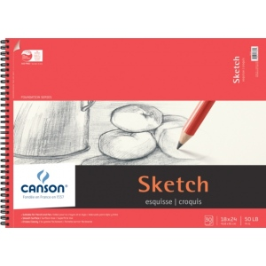 """Canson® Foundation Series 18"""" x 24"""" Wire Bound Sketch Pad; Binding: Wire Bound; Color: White/Ivory; Format: Pad; Quantity: 30 Sheets; Size: 18"""" x 24""""; Texture: Smooth; (model C100511034), price per 30 Sheets pad"""
