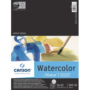 "Canson Montval Watercolor Paper: Fold Over Bound Pads, 9"" x 12"", 12 Micro-Perforated Cold Press Sheets, 140 lb./300g"