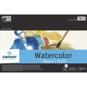 "Canson Montval Watercolor Paper: Fold Over Bound Pads, 10"" x 15"", 12 Micro-Perforated Cold Press Sheets, 140 lb./300g"