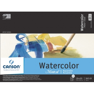 "Canson® Montval® Artist Series 15"" x 20"" Cold Press Watercolor Pad (Fold Over): Fold Over, White/Ivory, Pad, 12 Sheets, 15"" x 20"", Cold Press, (model C100511053), price per 12 Sheets pad"