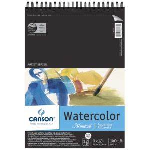 "Canson® Montval® Artist Series 9"" x 12"" Cold Press Watercolor Pad (Top Wire); Binding: Wire Bound; Color: White/Ivory; Format: Pad; Quantity: 12 Sheets; Size: 9"" x 12""; Texture: Cold Press; (model C100511058), price per 12 Sheets pad"