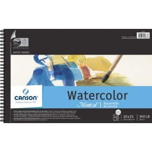 "Canson Montval Watercolor Paper: Wire Bound Pads, 10"" x 15"", 12 Micro-Perforated Cold Press Sheets, 140 lb./300g"