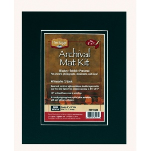 """Heritage Arts™ Archival Series 8"""" x 10"""" Pre-Cut Double Layer Black Mat Kit; Color: Black/Gray; Format: Frame; Material: Pre-Cut Mat Board; Size: 8"""" x 10""""; Thickness: 1/8""""; Type: Presentation Board; (model H0810ADB), price per each"""